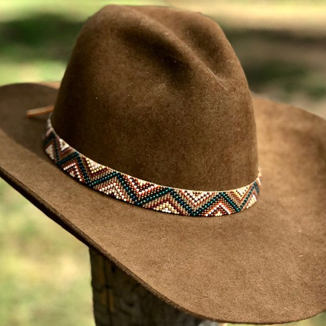 Hand Beaded Hat Band Etsy Beaded Hat Band Beaded Hat Beaded Hat Bands