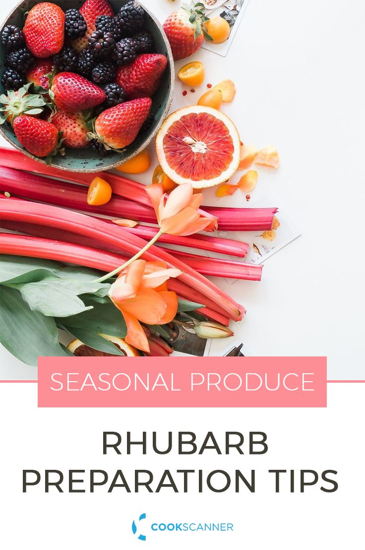 Rhubarb, Not Just for Pie: Seasonal Produce Series | Learn about how to cook with rhubarb, some neat preparation tips for cooking rhubarb and some cool rhubarb recipes that are not just pie! https://cookscanner.com/blog/rhubarb-seasonal/