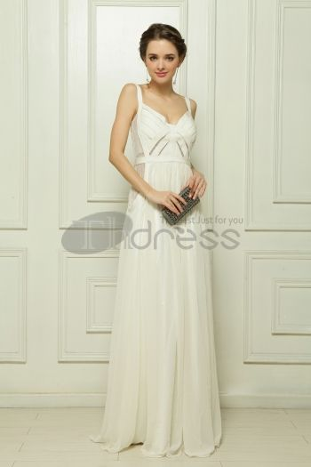 Elastic band composite wire beaded white evening dress