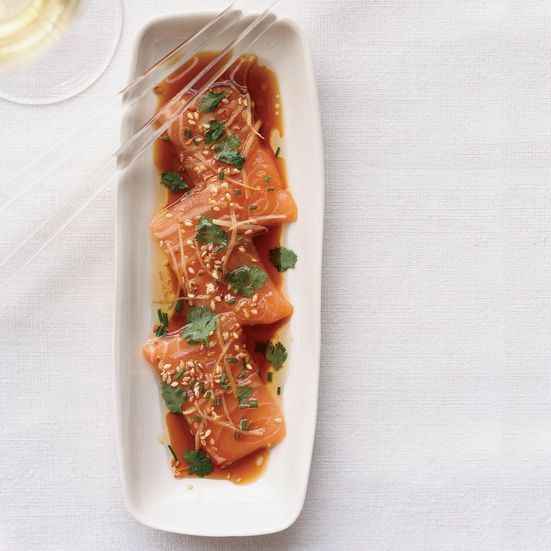 Tim Cushman is a master at preparing raw fish. Here he dresses salmon with a little citrus-soy dressing, then tops it with fresh ginger and chives bef...