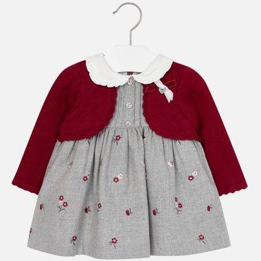 Dievčenské šaty s vyšívanými kvietkami Mayoral - Maroon