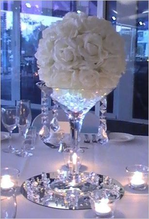 rose ball, white wedding..Love this but purple flowers instead