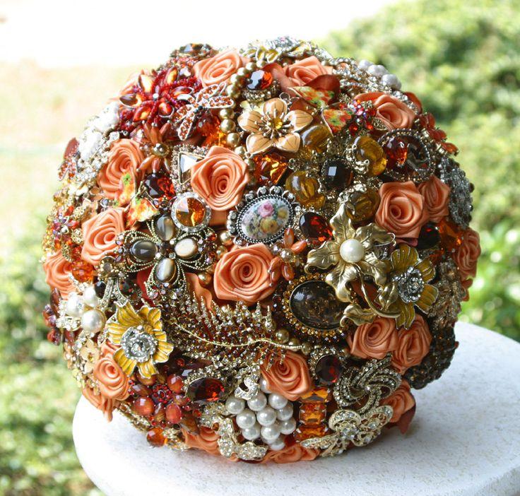 Autumn Brooch Wedding Bridal Bouquet - Deposit - Made to order Heirloom bouquet. $75.00, via Etsy.