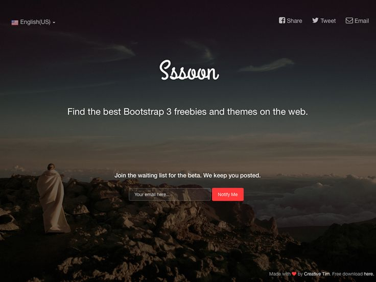 Coming Sssoon Page based on Bootstrap 3