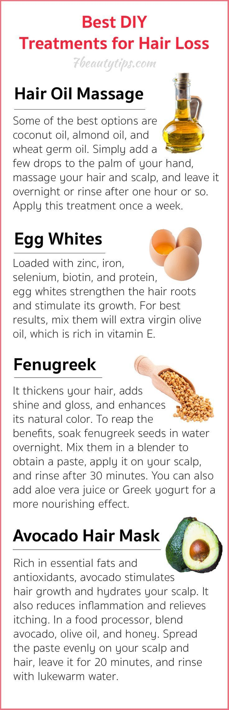 Here are 4 natural hair loss treatments to try.  These ingredients can be found in any supermarket.