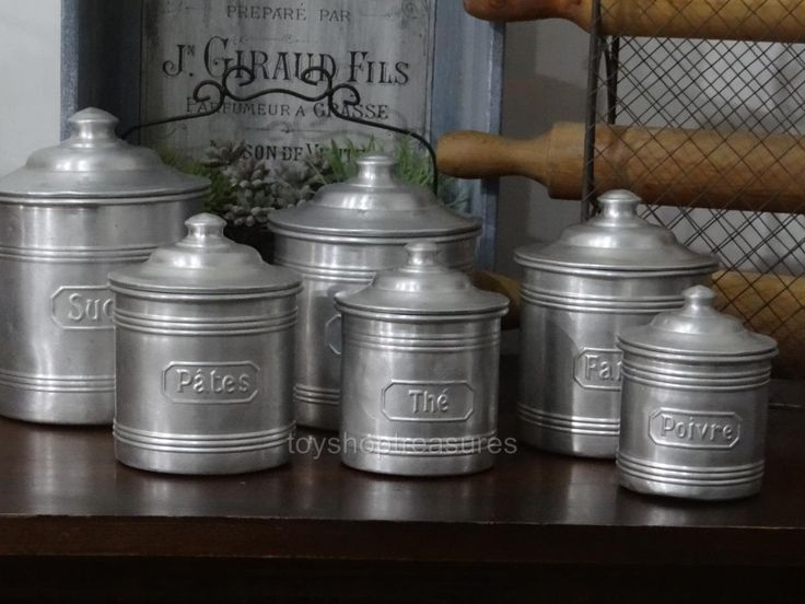 Genuine FRENCH Antique Set of 6 Aluminium Cannisters Coffee Tea Spice | eBay