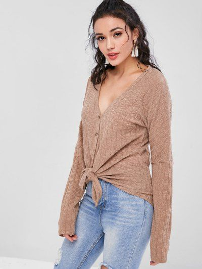 2abc4a295351 Shop Now 49% OFF ZAFUL Ribbed Button Through V Neck Cardigan - Brown S hoody