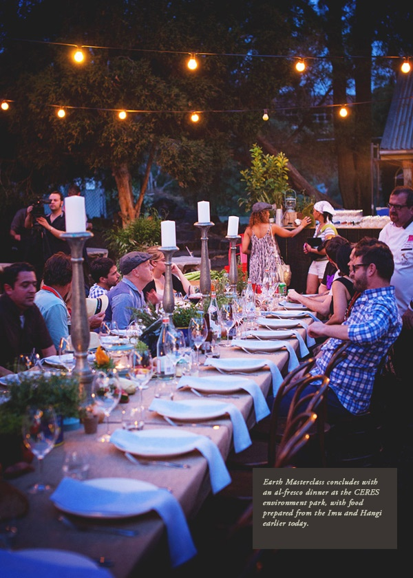 Melbourne Food and Wine Festival Earth MasterClass concluded with an al-fresco dinner at CERES Environment Park