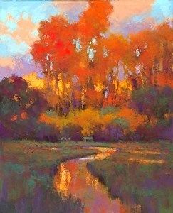 "Evening Light on the Cottonwoods sm by Teresa Saia Pastel ~ 24"" x 18"""