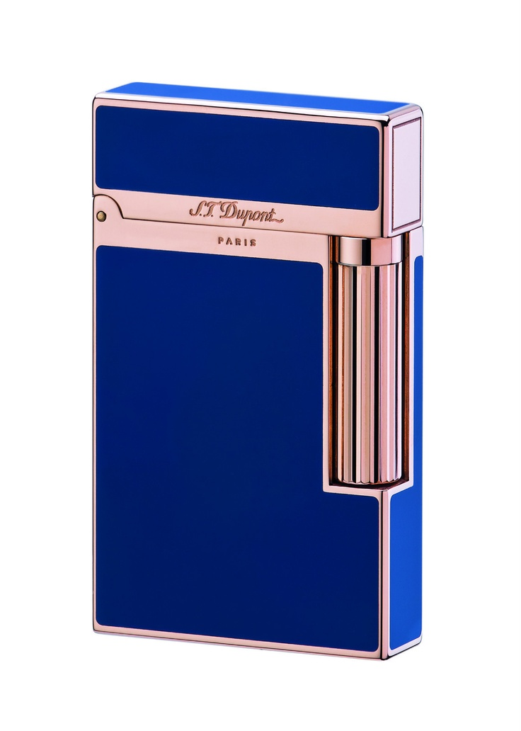 S.T. Dupont Ligne 2 Lighter - Model #: 016496 - Blue Chinese Lacquer - Pink Gold Finish