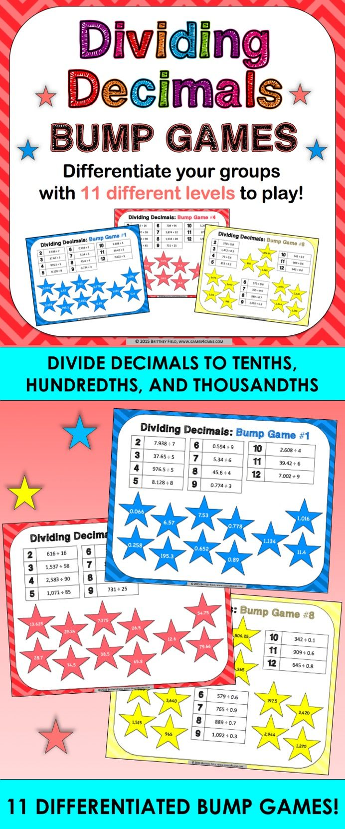 Dividing Decimals Bump Games contains 11 different dividing decimals games to help students practice dividing decimals to tenths, hundredths, and thousandths. As students work through the games, each one ramps up in difficulty. This means that you can have all of your students working at their appropriate level when using this dividing decimals set!