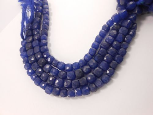 AAA-Blue-Zed-Cube-Faceted-Gemstone-Beads-Full-8-long-7-5mm-8mm-GT-2125-bead