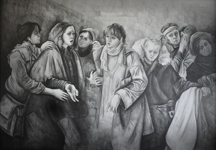 A pencil drawing from Odd Nerdrum's painting 70x100cm, 2008