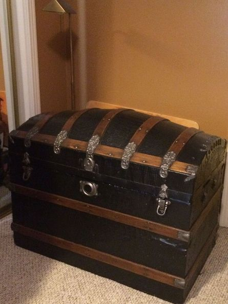 restored camel back trunk, painted furniture, repurposing upcycling