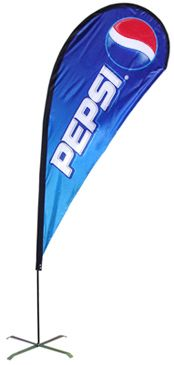 Custom portable teardrop banner PTB-8 - These eye-catching Tear Drop Banners are digitally printed and extremely popular because of the exposure and portability they provide. Printed on durable knitted polyester, the amount of colors or complexity of your design or artwork does not affect the price - this is a full color digital print process as opposed to screen printing. The necessary hardware kit is sold separately (Item # PTH-8). 5 minute assembly. #propelpromo