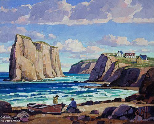 St-Gilles, 'Fin de journée, plage de Percé, Qc', 16'' x 20'' | Galerie d'art - Au P'tit Bonheur - Art Gallery