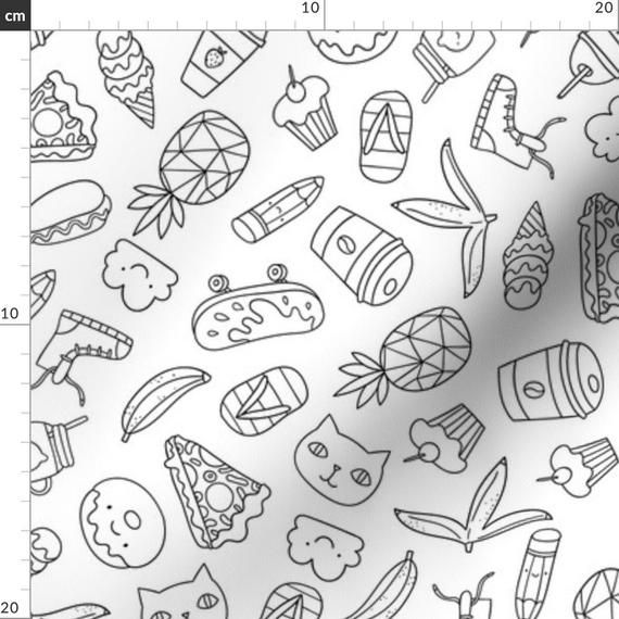 Doodle Outline Fabric – Pegatina de verano de Kostolom3000 – Donut Cat Skateboard Pineapple Ice Cream Co   – Products