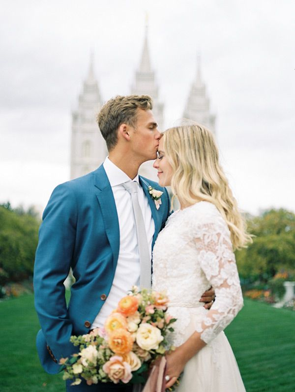 Britnee + Conner Salt Lake Temple Wedding. Photo by Jacquelyn Hayward, Gown by The Perfect Dress, Florals by Sage Floral.