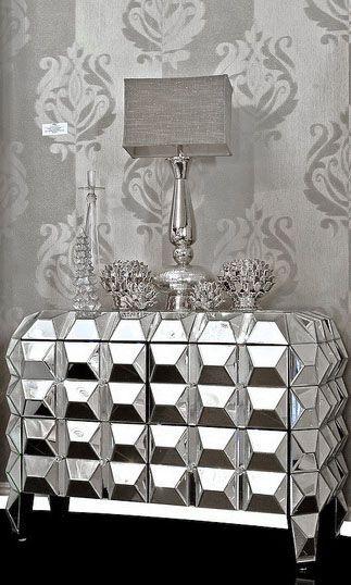 ART DECO HOME ACCESSORIES   Dove Gray Home Decor ♅ Art Deco Inspired  Mirrored Chest