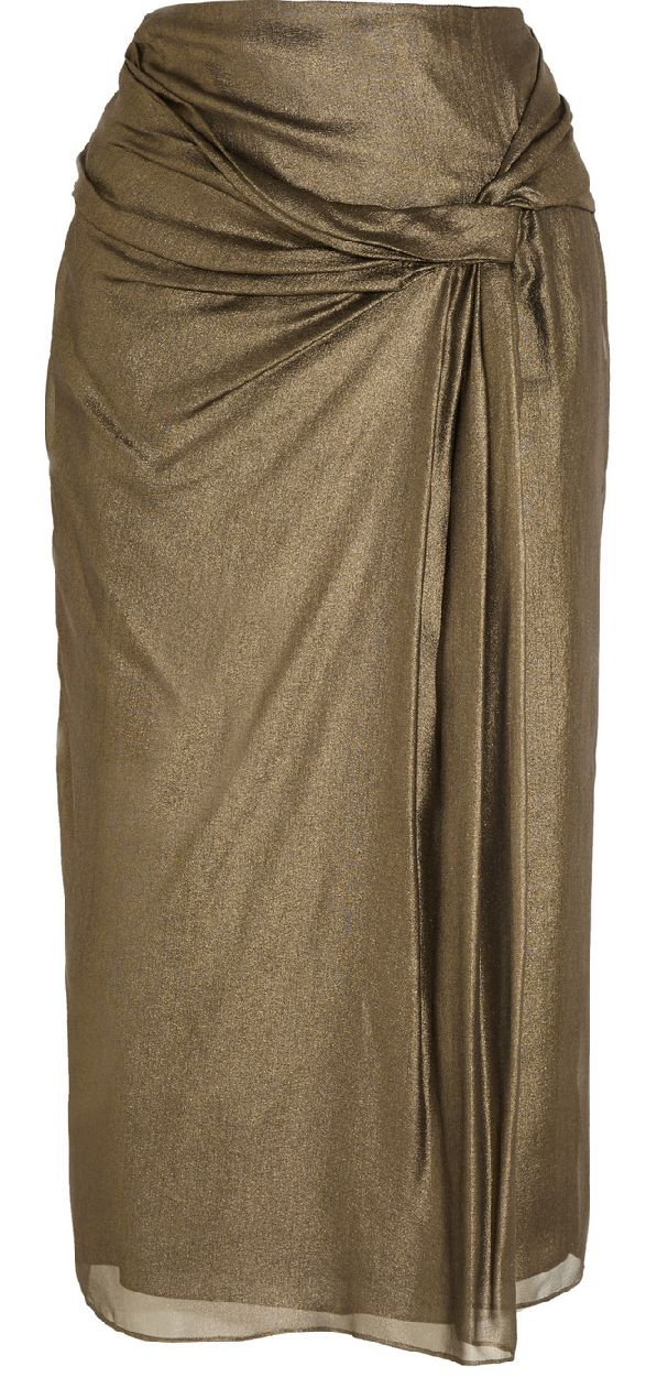 BURBERRY LONDON Draped metallic silk-crepe skirt