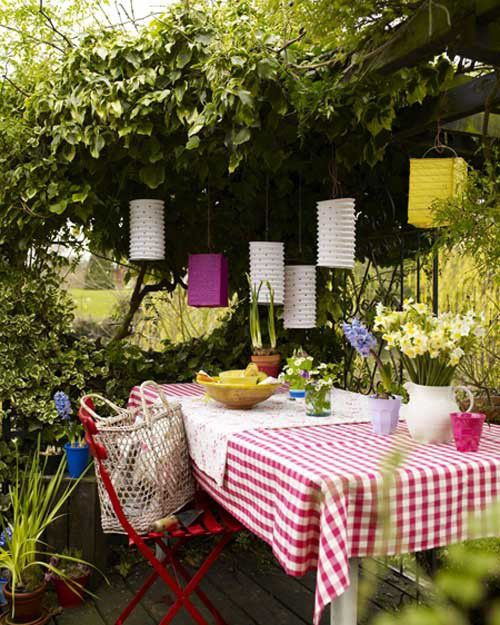 outdoor area by the style files, via Flickr Paper lanterns are cool too!