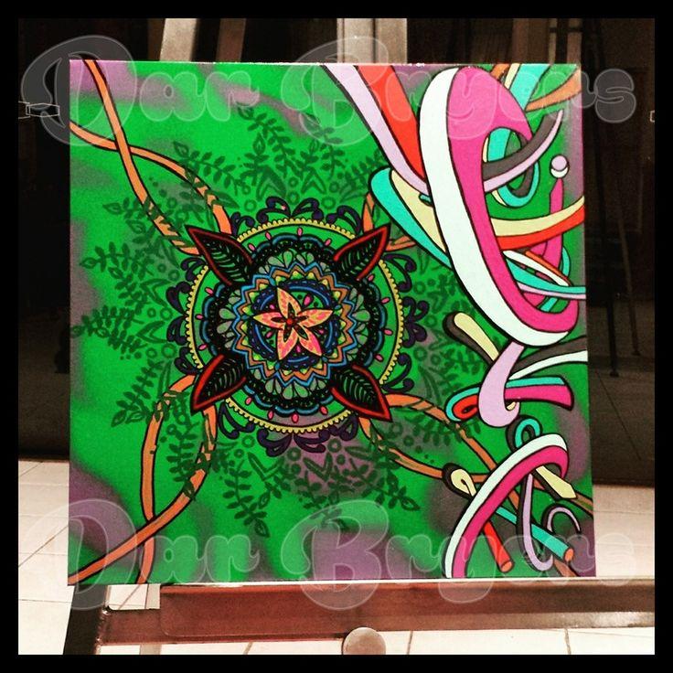 Playtime Mandala. Sprays on canvas. 35x35cm.