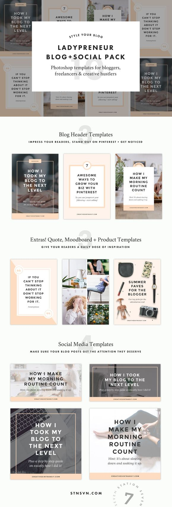 Ladypreneur Blog + Social Pack by Station Seven on @creativemarket
