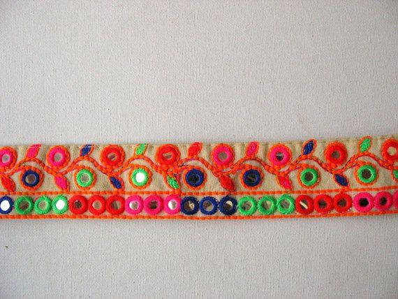 Trelly geborduurde Multicolor Trim Crazy Quilt Trim verkocht
