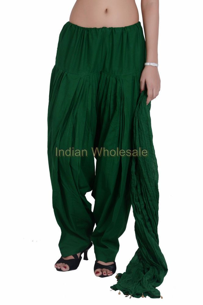 Indian Women Dark Green Patiala Salwar Pant with Dupatta Stole Set IWUS #Handmade #CasualPants