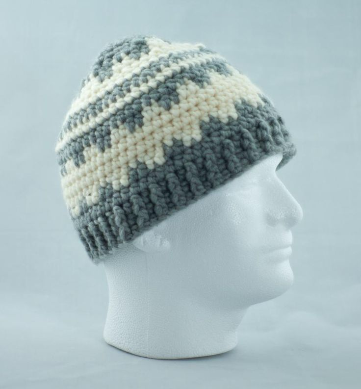 Gray and Cream Wool Blend Crochet Fair Isle Hat, Nordic Unisex Winter Cap, Ski Hat by LaPeuBoutique on Etsy