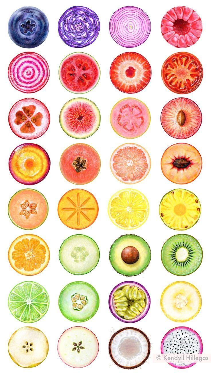 Regenbogen-Obst- und Gemüseillustrationen von Kendyll Hillegas für #inkto …-… – Obst Ideen