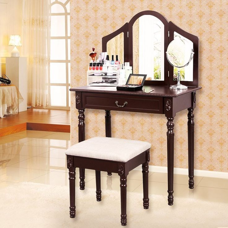 Vanity Set With Stool Drawer Bedroom Make Up Dressing Table Mirror Wood Brown