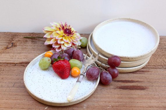 White glazed small ceramic plate