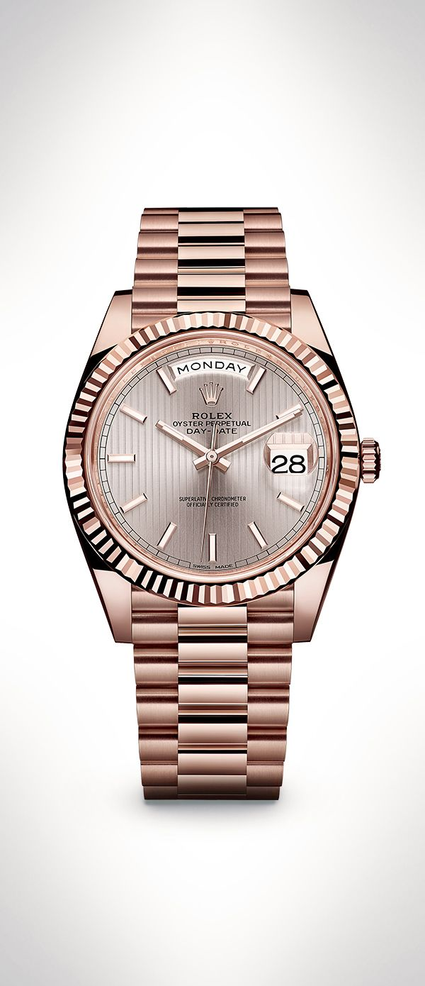 The new Rolex Day-Date 40 in 18 ct Everose gold with a Sundust dial with stripe motif and a President bracelet. This new model features an updated design and the new-generation Rolex movement: calibre 3255. #RolexOfficial #Baselworld