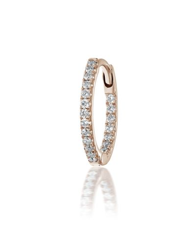 For Mom: Our Diamond Eternity Ring (Earlobe) ! One of most popular designs, this variant on our Eternity style features diamond on both the inside and outside of the ring, making it perfect for a vertical position like the ear lobe. Paired with a rose gold backing, this piercing is sure to wow!