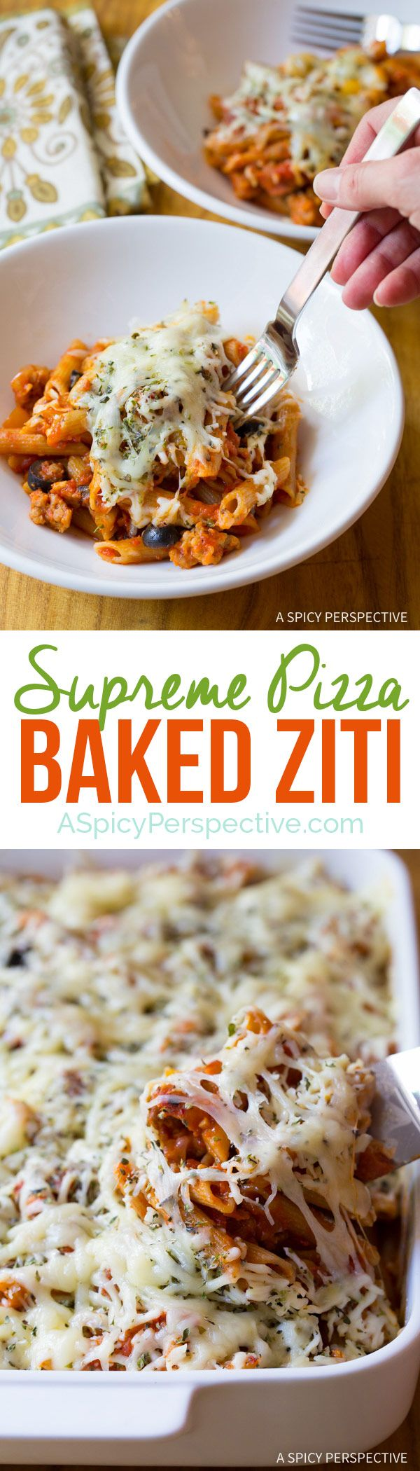 A Hearty Cozy Family Favorite - Supreme Pizza Baked Ziti Recipe on ASpicyPerspective.com #pasta
