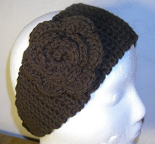 FREE crochet pattern for ear/head warmer band; add your own embellishment; Made this in a dark purple; turned out beautifully