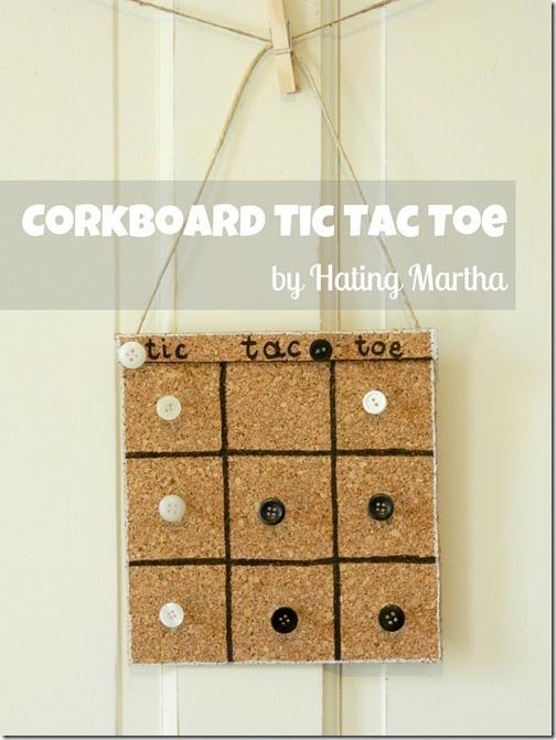 Corkboard Tic Tac Toe---quick craft