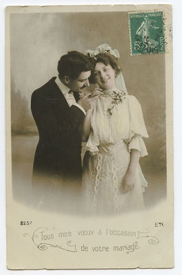 Edwardian Lady Bride Groom Marriage Wedding vintage old 1910s photo postcard a8