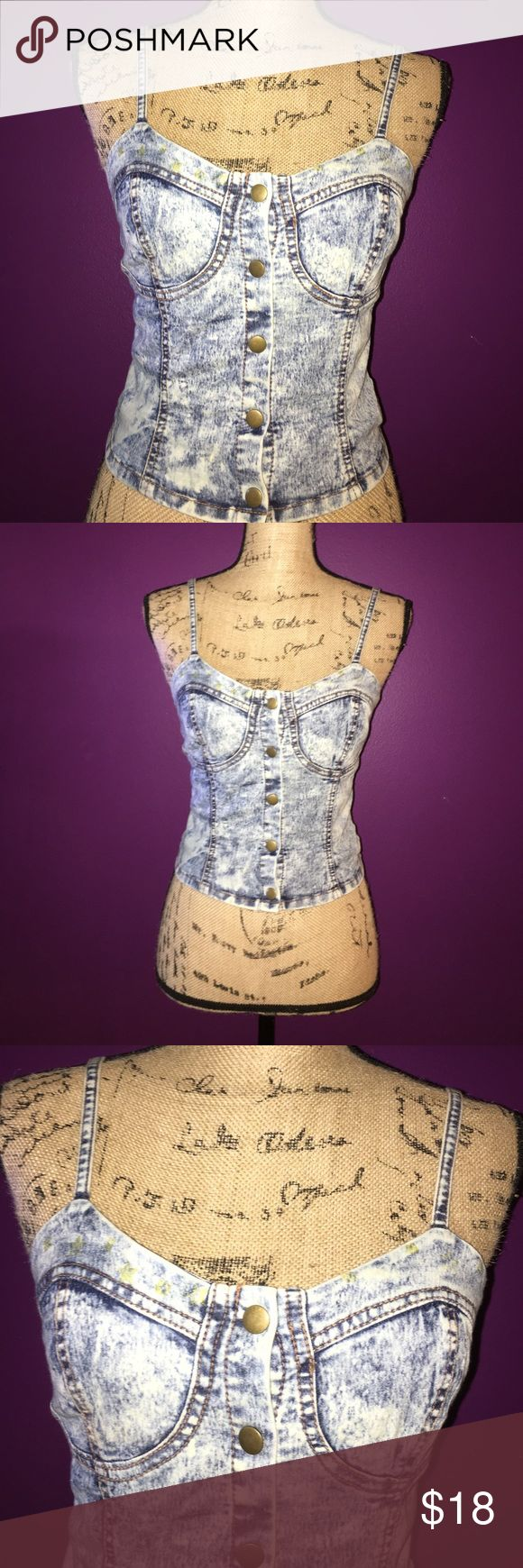 Acid washed Jean Crop Top Acid washed Jean Crop Top button up size medium Tops Crop Tops