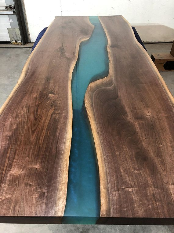 Black Walnut Ecopoxy Teal River Table Dining Room