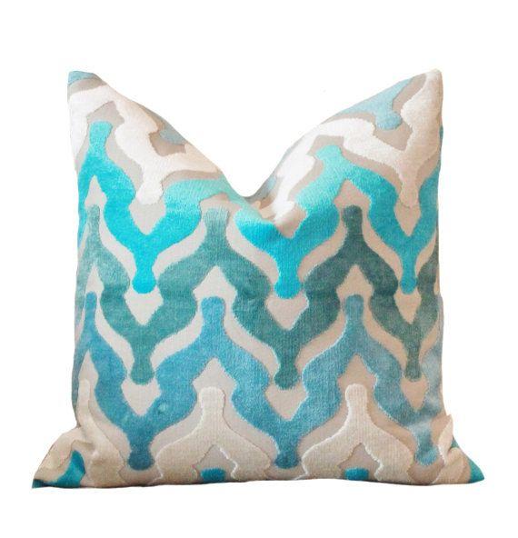 designer blue pillow turquoise geometric ogee pillow cover teal cut velvet pillow ombre geometric aqua pillow