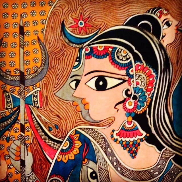 Shivparvati colored madhubani