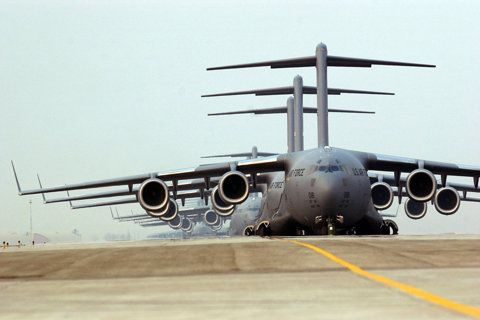 Military Transport C5's lining up ( Now that is awesome logistical preparation that's needed there !! ) ✔️