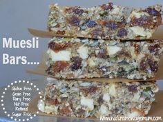 Gluten-Free, Nut-Free Muesli Bars. Perfect for lunchboxes! They are also grain free, dairy free and refined sugar free. Packed full of nutrients!