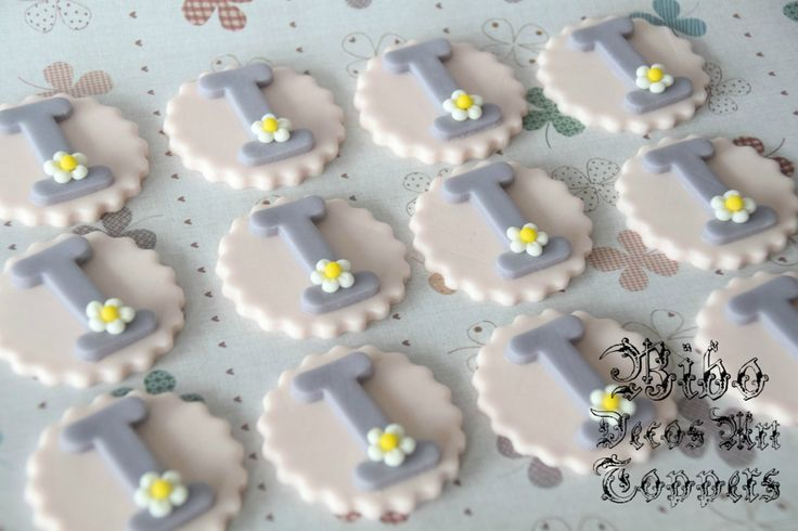 Edible 2D Alphabet or Number Plaques Fondant Cupcake Toppers , Birthday Party , Baby Shower Celebration by BiboDecosArtToppers on Etsy