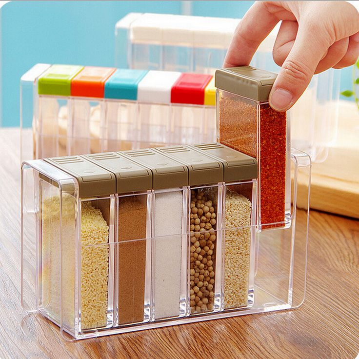 Transparent Detachable Spice Jar Seasoning Jar Kitchen Condiment Box Acrylic Seasoning Box Storage Box Kitchen Condiment Box 6 p #Affiliate