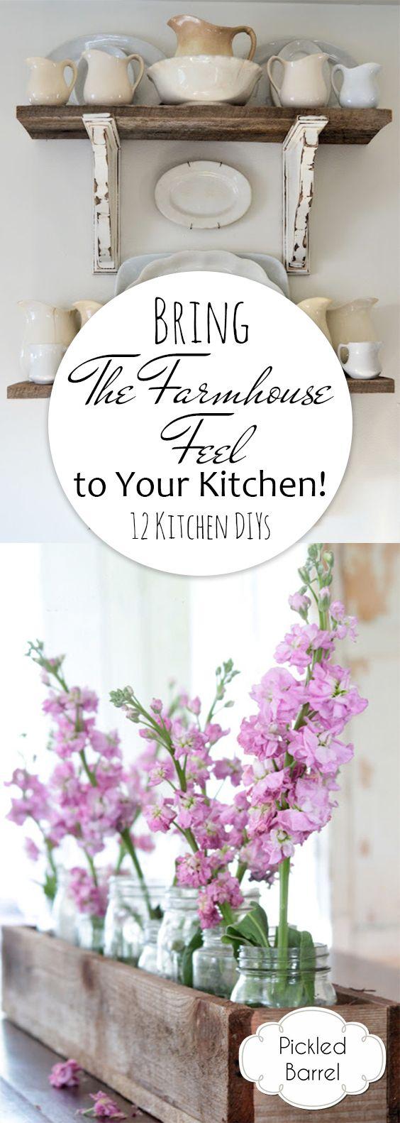 Bring a Farmhouse Feel to Your Kitchen! {12 Kitchen DIYs}