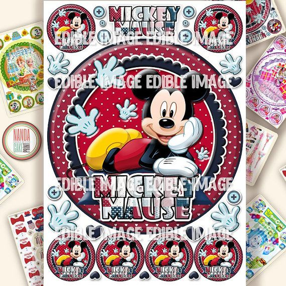 Mickey Mouse edible image for cake and cupcake decorations Icing personalised Cake toppers Birthday