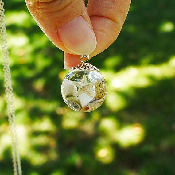 Seashell jewelry Seashells necklace Orb necklace Resin